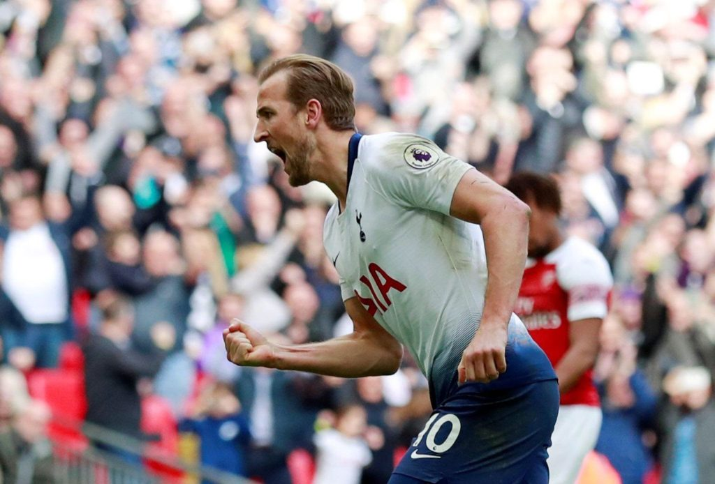 Image of Harry Kane after scoring goal for Tottenahm